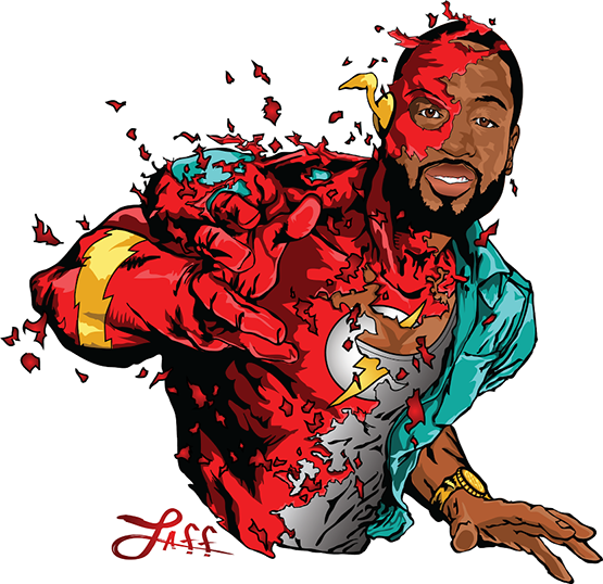 The Flash Wade Miami Heat Dunkslaps Art Series by ArtOfLAFF